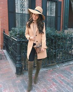 winter casual outfit ideas // classic camel wool top coat + over the knee olive boots + leggings
