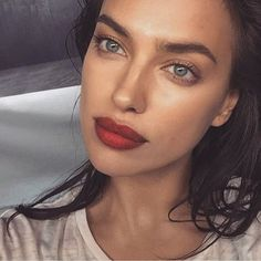 love the deep red, slight ombre lip. try a lipstick like NU Evolution lipstick in Sultry