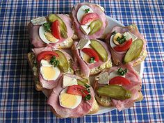 Czech Recipes, Ethnic Recipes, Monterey Cheese, French Bread Loaf, Appetizer Recipes, Appetizers, Open Faced Sandwich, Cook Off, Hungarian Recipes
