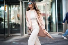 Pam Hetlinger wearing a Mango blush jacket, reiss lace up pumps, h&m high waisted white pants, h&m white crop top sweater, dior sunglasses, and chloe drew bag.