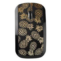 elegant faux gold foil tropical pineapple pattern wireless mouse