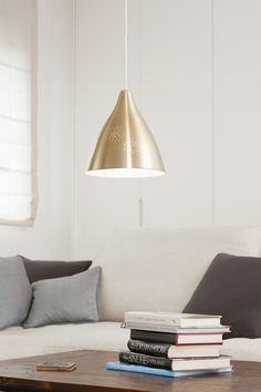 Innolux Lisa 265 #riippuvalaisin #messinki, klassinen valaisin vuodelta 1947 #three colours two sizes #pendant #brass #classics of Finnish Design from year 1947 #Innolux  #design Lisa Johansson-Pape #habitare2014 #design #sisustus #messut #helsinki #messukeskus