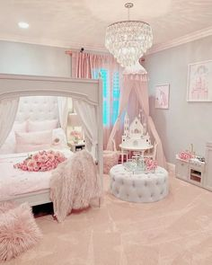 Gorgeous beautiful princess room The pink bedroom look is perfectly pulled of. Gorgeous beautiful princess room The pink bedroom look is perfectly pulled off. This awesome bedroom is a sight to behold. Cute Bedroom Ideas, Cute Room Decor, Girl Bedroom Designs, Awesome Bedrooms, Girls Room Design, Nursery Ideas, Design Bedroom, Girl Nursery, Bed Design