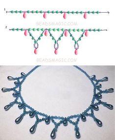 Free pattern for necklace Tahoe - Perlen Schmuck Bead Jewellery, Seed Bead Jewelry, Jewelry Making Beads, Jewellery Making, Crystal Jewelry, Seed Beads, Silver Jewelry, Funky Jewelry, Jewelry Crafts