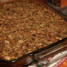"Sausage, Bacon, Apple and Cornbread Stuffing | ""I look forward to Thanksgiving all year just because of this recipe!"""