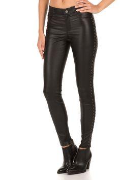 Leren broek Celine | zwart