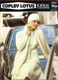 Copley 9081 ladies aran beanie scarf skirt and by Ellisadine, £1.15