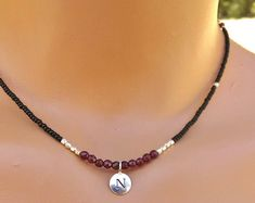 Silver and garnet necklace, personalized charm necklace, gemstone necklace, dainty charm necklace, everyday necklace, garnet jewelry,