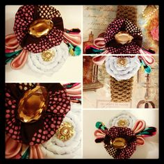 The pin!! It's hair band too! Rose, fushia, brown, turquoise, white!!! So lovely!!