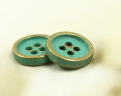 Metal Buttons - Set 10 Retro Cyan Painted Thicken Brass Buttons, 0.43 inch