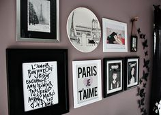 Purple accent wall with French typography art. Just painted accents walls this color. They are gorgeous!!