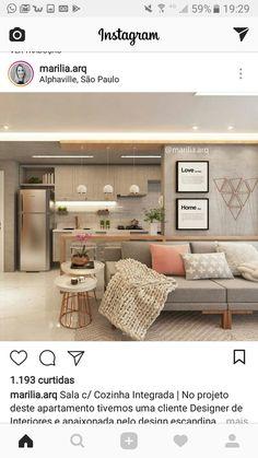 home decor dream Open Plan Kitchen Living Room, Home Living Room, Living Room Decor, Salons Cosy, Cuisines Design, Apartment Interior, Cozy House, Home Decor Inspiration, Sweet Home