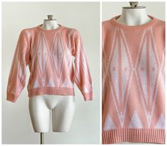 1980s pink and white knit sweater with diamond pattern by TimeTravelFashions on Etsy