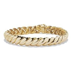 Women's David Yurman 'Hampton Cable' Link Bracelet in Gold (6,907 CAD) ❤ liked on Polyvore featuring jewelry, bracelets, cable jewelry, 18k bangle, gold jewellery, gold bangles and david yurman jewellery