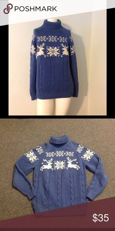 Lands End Nordic Reindeer Ski Cable Knit Sweater Very nice Lands End sweater. Blue turtleneck with a reindeer design. Made of 100% cotton in size M. Nice condition. Lands' End Sweaters Cowl & Turtlenecks