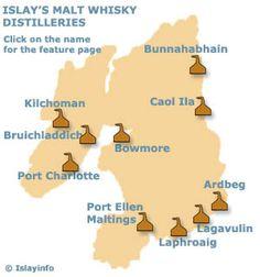 One day I'd do a whisky-tasting tour: Islay Malt Whisky Distilleries Map