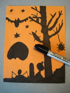Here's a fun Halloween project my Grade 2's finished last week.   I found the lesson HERE  on Artsonia- done my students at Cedar Cree...