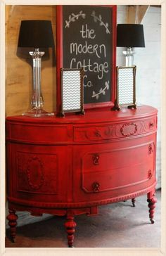 love this red furniture piece! The Modern Cottage Company
