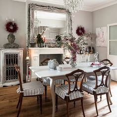 White Christmas dining room with oak flooring | Dining room decorating | 25 Beautiful Homes | Housetohome.co.uk