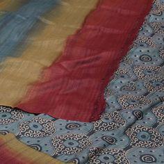 Weavers Studio Storm Grey Ombre Printed Tussar Silk Saree with striped pallu 10001185 - AVISHYA.COM