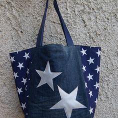 Sac cabas en jean et tissu bleu à étoiles blanches