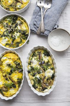 A spring frittata of nettles and purple sprouting broccoli.