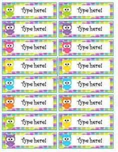 Owl Themed Editable Labels....im sure i can do something with these!!