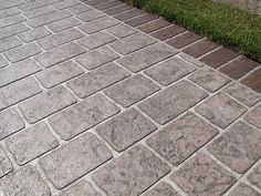 Stamped concrete driveway - An incredible home design tip is to use a variety of patterns and textures in each and every room. These patterns can help to enliven the attention and add interest to otherwise boring items. Concrete Patios, Stamped Concrete Driveway, Brick Walkway, Front Walkway, Stone Patios, Front Steps, Concrete Floors, Stamped Concrete Patterns, Stencil Concrete