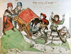 Reiseunfall des Papstes   Dieses Bild: 006700     1465 ; 1475 ; Wien ; Österreich ; Wien ; Österreichische Nationalbibliothek ; cod. 3044 ; fol. 34v
