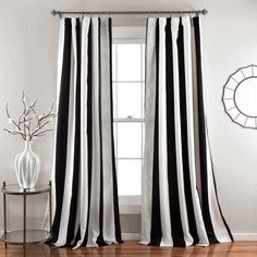 Lush Decor Wilbur Blackout Window Curtain Panel Pair ($54) ❤ liked on Polyvore featuring home, home decor, window treatments, curtains, stripe curtain panel, tab curtains, tab curtain panels, striped curtain panels and pole pocket curtains