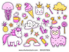 Magic unicorn, alpaca, kitten, jellyfish, cute animals, sweets, rainbow, clouds, stars, hearts. Set of stickers, patches, badges, pins, prints for kids. Doodle style. Vector isolated illustration.