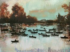 Row your boat, 2015, acrylic, lacquer, spraypaint on linen, 150 x 200 cm