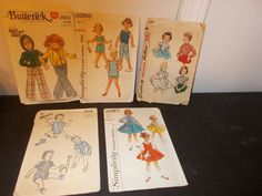 Inventory 25 Lot of 5 Vintage Patterns Childs size 7 Girls