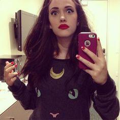 Kat Dennings and a Sailor Moon shirt. Perf.