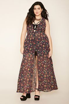 A maxi dress featuring a buttoned front, allover semi sheer floral print, a plunging V-neckline, and an elasticized waist.