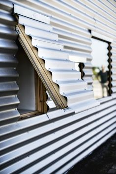 Facade Fix: 9 Ways to Add Curb Appeal with Corrugated Metal Siding: Gardenista Metal Cladding, Metal Siding, Metal Shutters, Detail Architecture, Interior Architecture, Sustainable Architecture, Contemporary Architecture, Interior Design, Shipping Container Homes