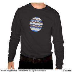 Men's long sleeve T-shirt with blue mosaic