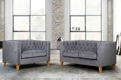 The Florence snuggle chair is a modern take on a traditional look featuring a classic buttoned back and squared armrests, upholstered in a grey velvet fabric and features a pretty studded finish. Grey Velvet Sofa, Three Seater Sofa, Grey Chair, Chaise Sofa, Traditional Looks, Fabric Sofa, Love Seat, Florence, Living Room