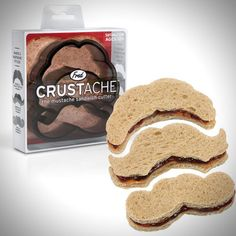 Crustache Mustache Crust Cutter by Fred & Friends. You must be 12 to eat a sandwich! Sandwich Cutters, Good Food, Yummy Food, Yummy Treats, Cool Inventions, Mo S, In Kindergarten, Gingerbread Cookies, Kids Meals