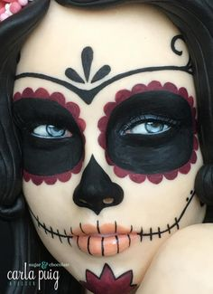 Catrina - Sugar Skull Bakers 2016 by Carla Puig - Halloween - Sugar Skull Make Up, Halloween Makeup Sugar Skull, Halloween Makeup Looks, Halloween Skull, Halloween Costumes, Skeleton Costumes, Sugar Skulls, Halloween Makeup Tutorials, Sugar Skull Halloween Costume