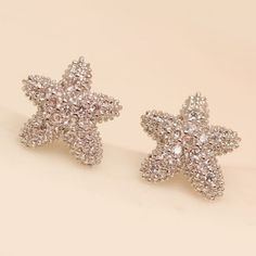 Pair of Cute Rhinestoned Starfish Stud Earrings For Women #CLICK! #clothing, #shoes, #jewelry, #women, #men