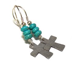 Pewter Cross earring are adorned with Turquoise Magnesite and sterling silver beads. Ear wires are hand forged sterling silver with sterling wire wrapping.    • Sterling si... #southwestern ➡️ https://www.etsy.com/listing/486460759/rustic-cross-earrings-sterling-silver?utm_campaign=products&utm_content=d3dbdd3fcc7d4dc9bddce1856f423ac9&utm_medium=pinterest&utm_source=sellertools