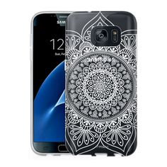 Samsung Galaxy S7 Clear Case - White Floral Ink Mandala