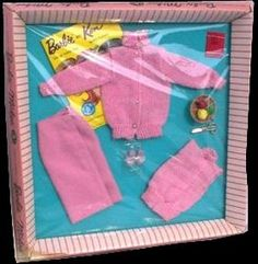 "Barbie Vintage Clothing - ""Knitting"" pretty!   I had this in blue only have the skirt left to it."