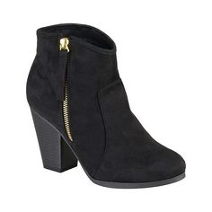 Women's Journee Collection Link Faux Suede Ankle Boots ($50) ❤ liked on Polyvore featuring shoes, boots, ankle booties and black
