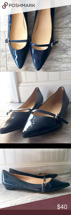 Navy Blue Ivanka Trump Pointed Flats Never worn outdoors - only walked around to try on inside; have never actually worn them! These are absolutely beautiful but just not my style! Navy Blue Ivanka Trump Shoes Flats & Loafers