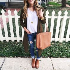 casual everyday outfit with distressed jeans rolled up with booties, white tee, long olive cardigan, coganc leather tote, long initial pendant necklace via brightontheday blog // @brightonkeller