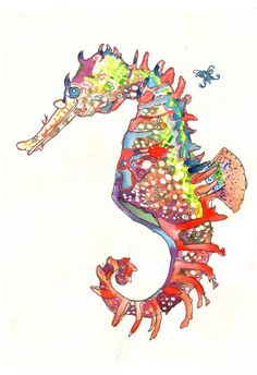 Seahorse Limited Edition Beach Fine Art Print from original // Home Decor Shore Ocean Water Animal Fish // 13x19, 8.5x11 or 5x7