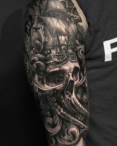 half sleeve tattoo ideas to help men to get coolest tattoos. Pirate Tattoo Sleeve, Sea Tattoo Sleeve, Ship Tattoo Sleeves, Nautical Tattoo Sleeve, Pirate Skull Tattoos, Octopus Tattoo Sleeve, Pirate Ship Tattoos, Best Sleeve Tattoos, Tattoo Sleeve Designs