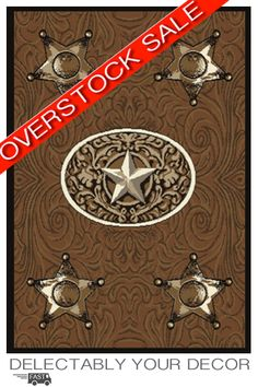 Badges Western Rug Features: A unique tone on tone tooled leather look with 4 sheriff's badges in each of the four corner.  A western star highlights the center oval adding to the western theme any cowboy or cowgirl would love coming home too! Our western rugs are the perfect centerpiece for your rustic decor at a perfect price point! Our overstock and clearance rugs are priced so low that we often can not disclose the brand name.